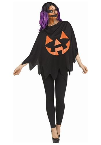 Click Here to buy Womens Dark Jack-o-lantern Costume Poncho from HalloweenCostumes, CDN Funds & Shipping