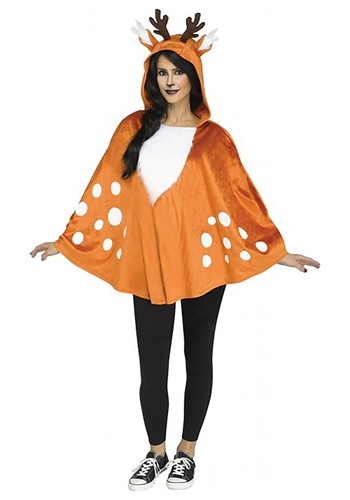 Hooded Womens Deer Poncho