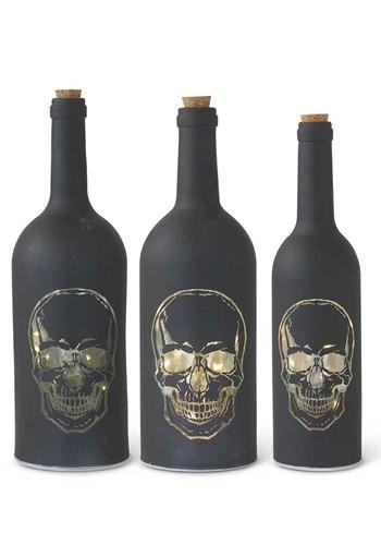 Set of 3 Matte Black LED Skull Bottles