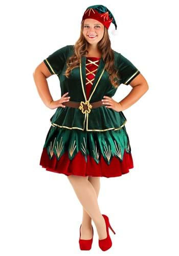 Plus Deluxe Holiday Elf Costume for Women
