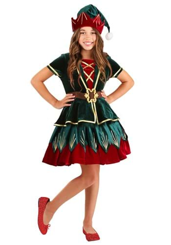 Click Here to buy Deluxe Holiday Elf Girls Costume from HalloweenCostumes, CDN Funds & Shipping