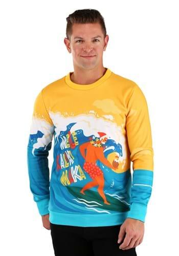 Mele Kalikimaka Surfing Santa Ugly Christmas Sweatshirt for Adults