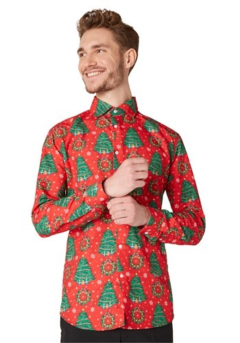 Men's Suitmeister Christmas Trees Red Shirt