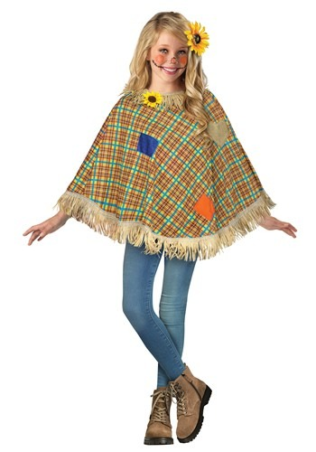 Click Here to buy Sweet Scarecrow Poncho for Kids from HalloweenCostumes, CDN Funds & Shipping