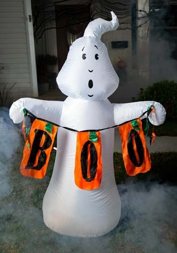 """60""""H Electric Color Changing Inflatable White Ghost w/ Boo S"""
