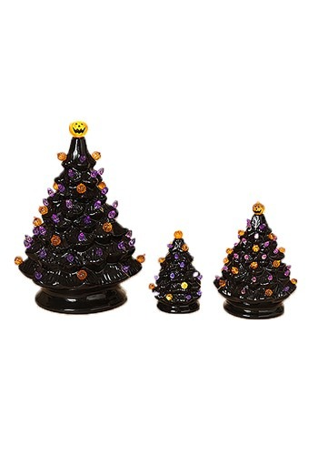 """3 Lighted Dolomite Halloween Trees w/Sound Large is 13.1"""""""