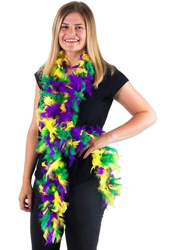 Click Here to buy Mixed Colors Mardi-Gras 50 Gram 6 Ft Feather Boa from HalloweenCostumes, CDN Funds & Shipping