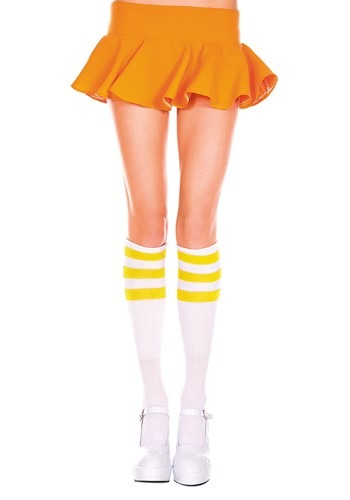 Knee High Athletic Stockings White/Yellow