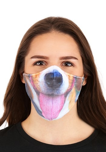 Dog with Tongue Sublimated Face Mask for Adults