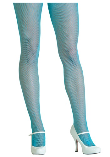 Neon Blue Fishnet Tights