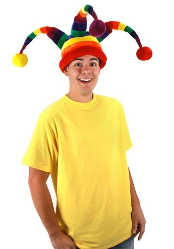 Click Here to buy Plush Rainbow Wacky Jester Hat from HalloweenCostumes, CDN Funds & Shipping