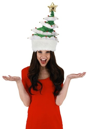 Click Here to buy Plush Springy White Christmas Tree Hat from HalloweenCostumes, CDN Funds & Shipping