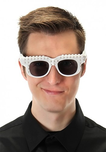 Bricky Blocks White Costume Glasses