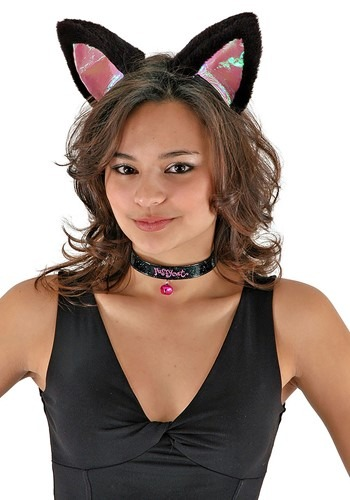 Cat Ears Headband Collar & Tail Kit Black & Pink
