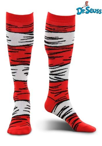 Click Here to buy The Cat in the Hat Costume Socks for Adults from HalloweenCostumes, CDN Funds & Shipping