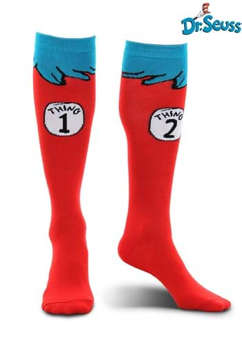 Click Here to buy Cat in the Hat | Thing 1 & 2 Costume Kids Socks from HalloweenCostumes, CDN Funds & Shipping