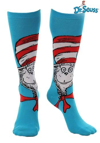 Click Here to buy The Cat in the Hat Knee High Socks from HalloweenCostumes, CDN Funds & Shipping