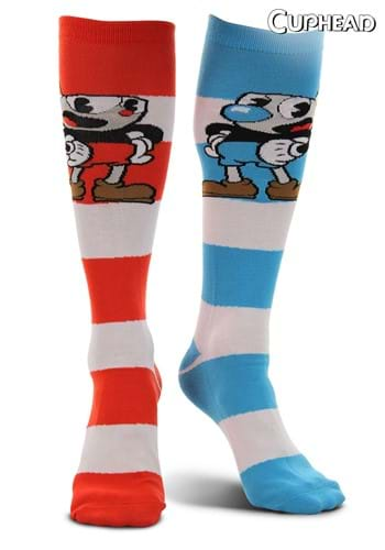 Cuphead & Mugman Striped Knee High Socks