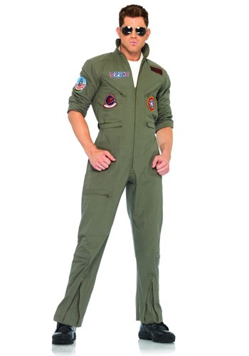 Click Here to buy Mens Top Gun Flight Suit Costume | Pilot Halloween Costume from HalloweenCostumes, CDN Funds & Shipping
