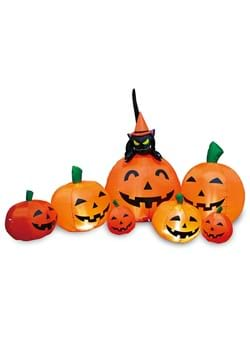 7 Inflatable Pumpkin Patch With Cat Decoration