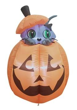 5 Inflatable Animated Cat in Pumpkin Decoration