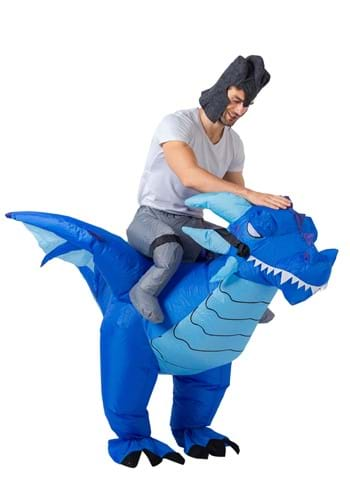 Inflatable Blue Dragon Ride-On Adult Size Costume