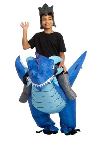 Kids Inflatable Blue Dragon Ride-On Costume