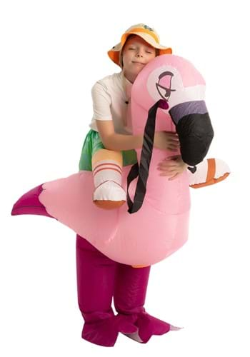 Kids Inflatable Flamingo Ride-On Costume