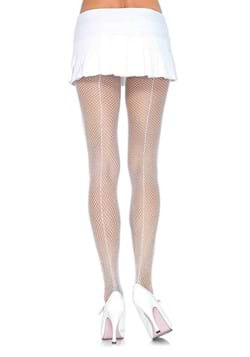 White Fishnet Tights with Backseam