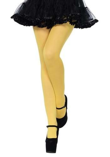 Yellow Nylon Opaque Womens Tights