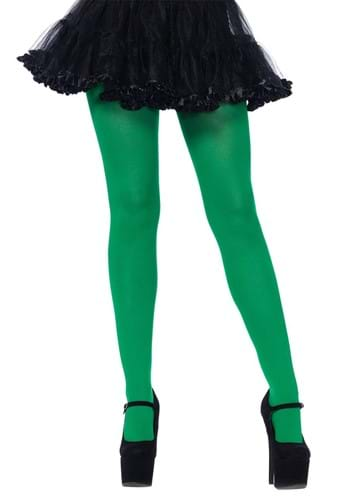 Plus Size Green Spandex Opaque Tights
