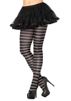 Womens Black and Grey Striped Nylon Tights