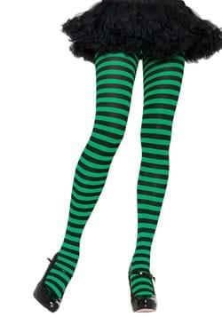 Black and Green Striped Nylon Tights