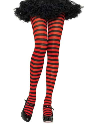 Plus Size Black and Red Striped Nylon Tights