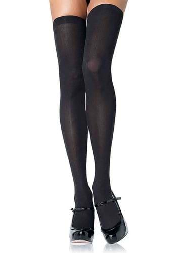 Plus Size Black Opaque Nylon Thigh High Tights