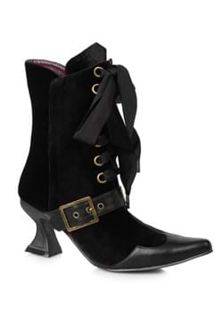 Women's Black Velvet Boots with Heel