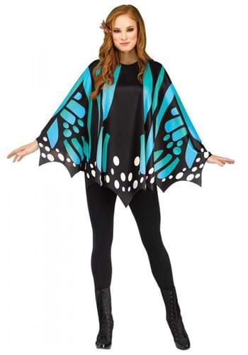 Teal Butterfly Womens Poncho