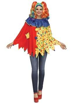Womens Colorful Clown Poncho