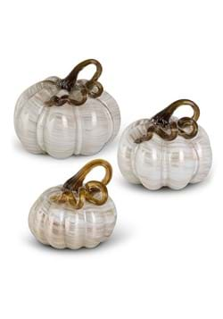 Set of 3 White and Gold Glass Pumpkins UPD