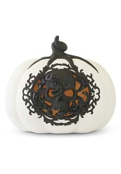 "7.75"" White & Black LED Pumpkin w/Filigree and Sku"