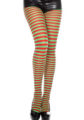 Red & Green Striped Womens Tights