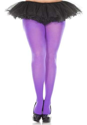 Plus Size Solid Purple Womens Tights