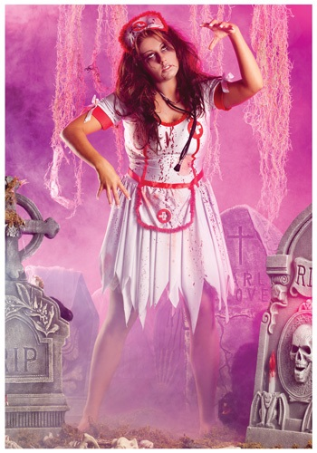 Click Here to buy Plus Zombie Nurse Costume from HalloweenCostumes, CDN Funds & Shipping