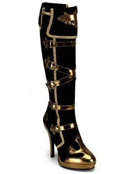 Sexy Black and Gold Pirate Boots