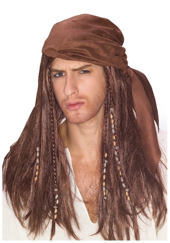 Click Here to buy Brown Caribbean Pirate Wig from HalloweenCostumes, CDN Funds & Shipping
