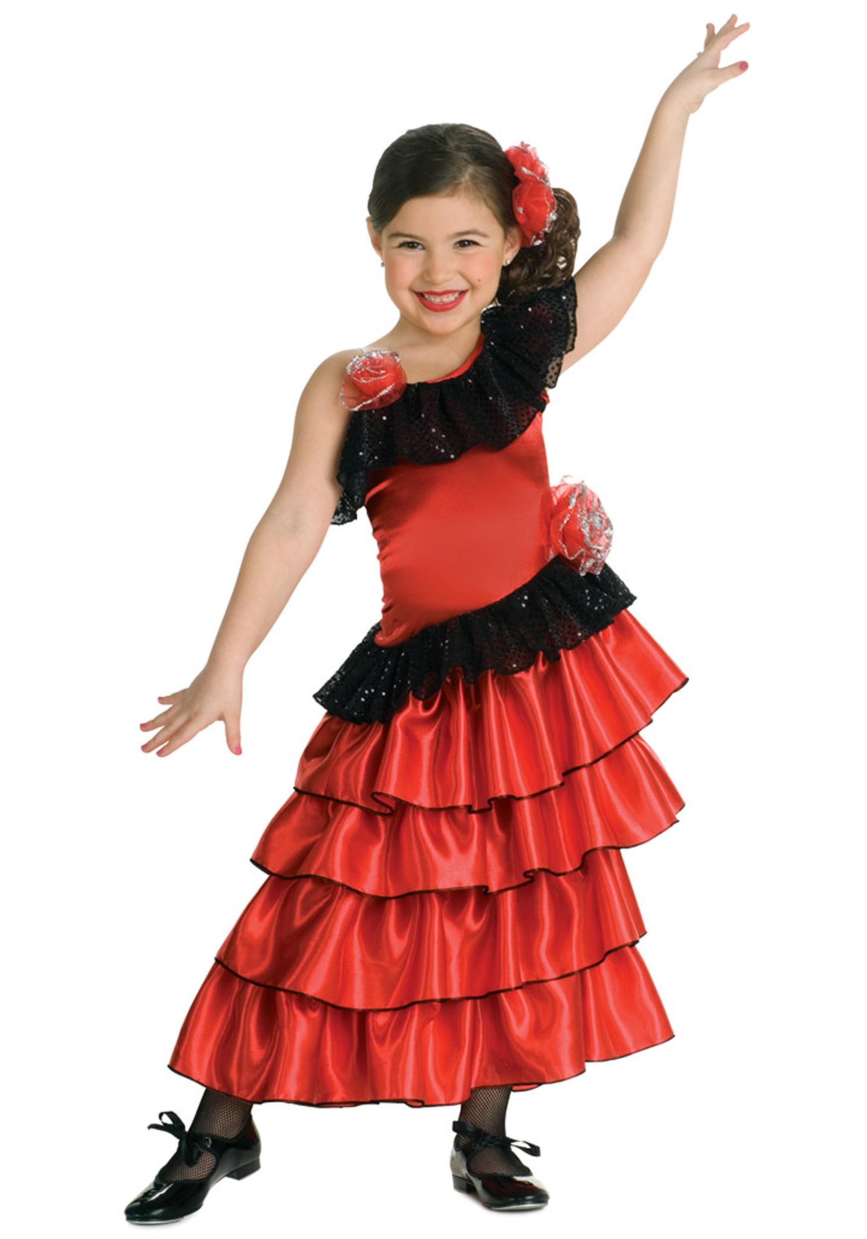 c977afbb4 Girls Spanish Flamenco Dancer Costume